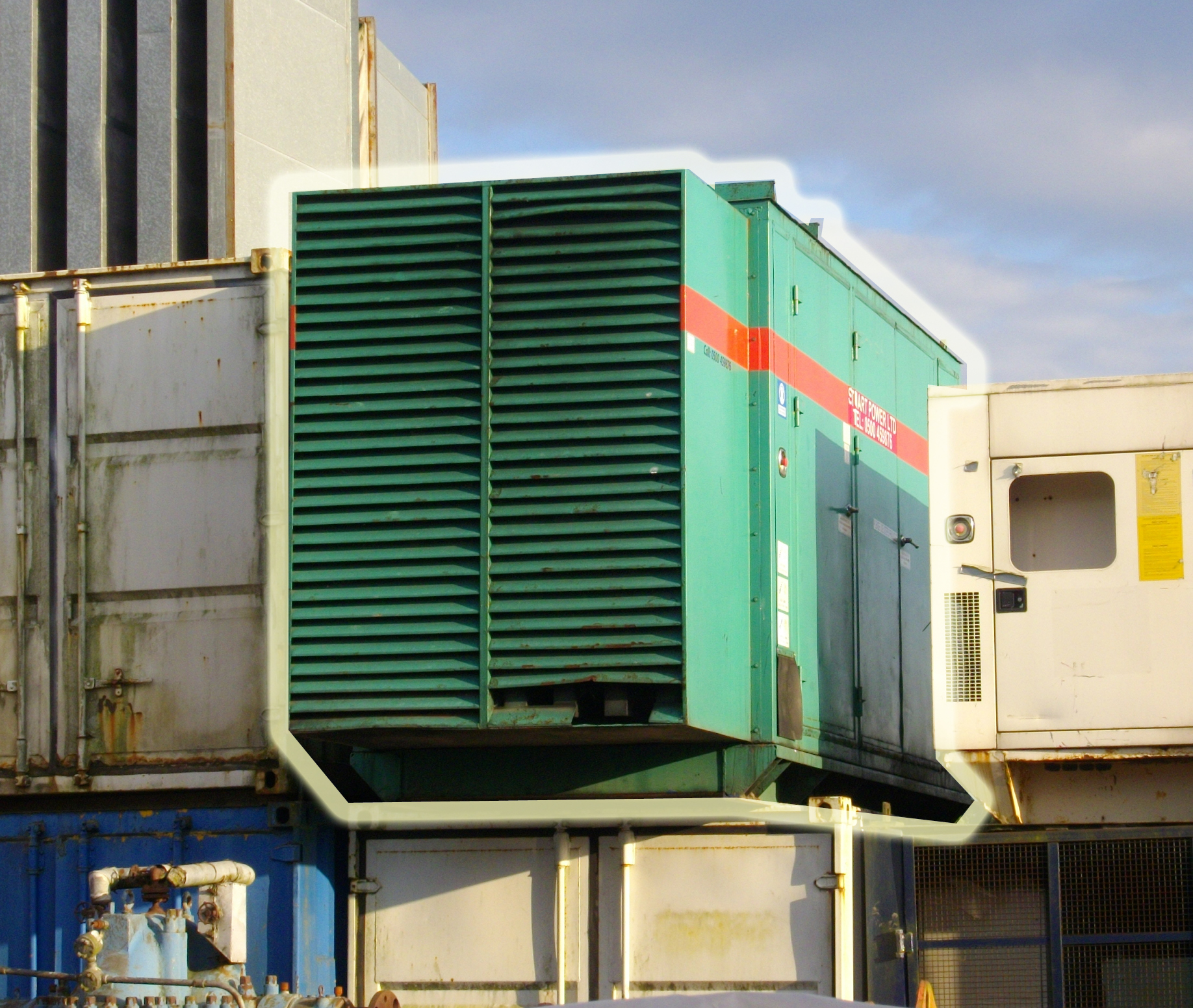 Blue 750kVA 4 door generator enclosure